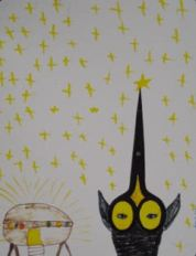 In this example, the same pair of scissors is turned upside-down and transformed into an alien!